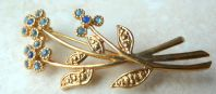 Vintage Blue Flower Brooch By Movitex